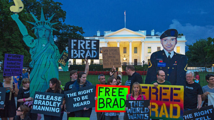 Protesters from a coalition of groups demonstrate the conviction of Wikileaker Bradley Manning late August 21, 2013 in front of the White House in Washington, DC. (AFP Photo/Paul J. Richards)