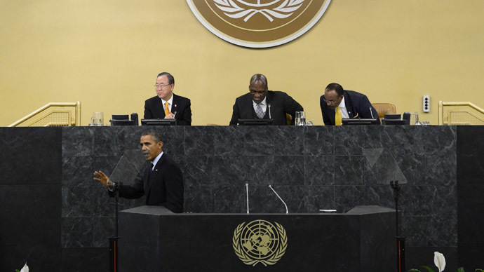 United States President Barack Obama waves after speaking at the 68th United Nations General Assembly on September 24, 2013 in New York City. (Andrew Burton/Getty Images/AFP)