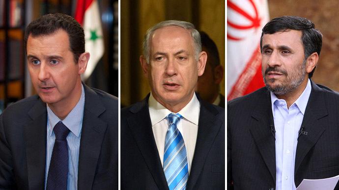 Syrian President Bashar al-Assad (L), Israeli Prime Minister Benjamin Netanyahu (C), Former Iranian President Mahmoud Ahmadinejad (R) (AFP Photo)