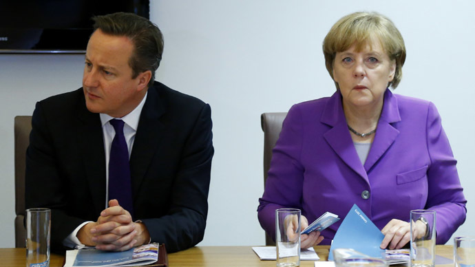 Britain's Prime Minister David Cameron and Germany's Chancellor Angela Merkel (Reuters / Yves Herman)