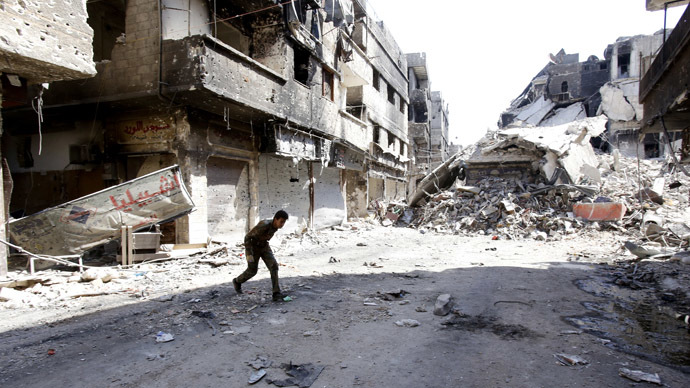 A street in the Yarmouk refugee camp in the Syrian capital Damascus (AFP Photo/Anwar Amro)