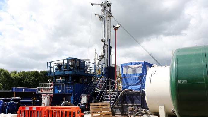 A general view shows the Cuadrilla exploration drilling site in Balcombe in Balcombe in southern England, on August 15, 2013.  (AFP Photo)