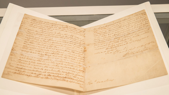 A letter regarding the United States' constitution, written by the first president of the United States, George Washington (AFP Photo / Andrew Burton)