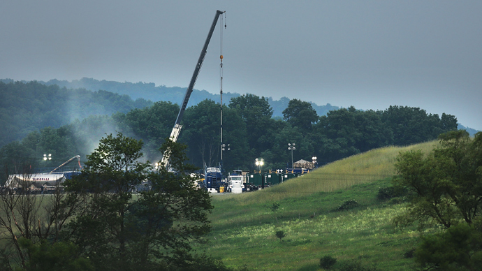 A hydraulic fracturing site is viewed iin South Montrose, Pennsylvania (AFP Photo / Spencer Platt)