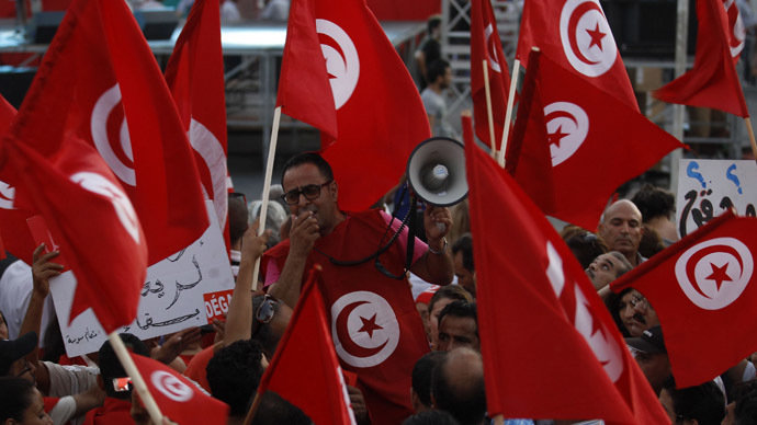 An anti-government protester shouts slogans as others wave flags and signs during a demonstration in Tunis August 24, 2013. (Reuters)
