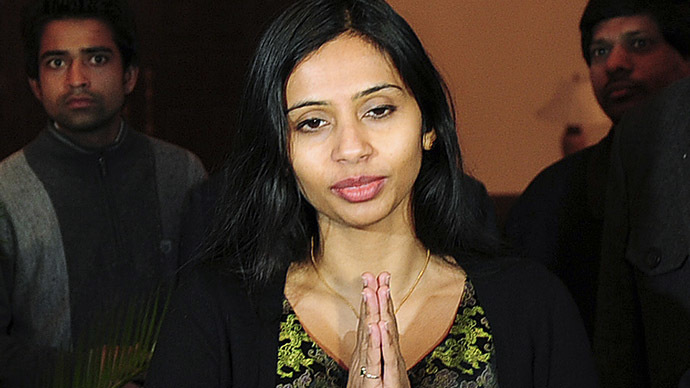 "Indian diplomat Devyani Khobragade gives the ""namaste"" gesture of greeting upon her arrival at Maharashtra Sadan state guesthouse in New Delhi January 10, 2014. (Reuters)"