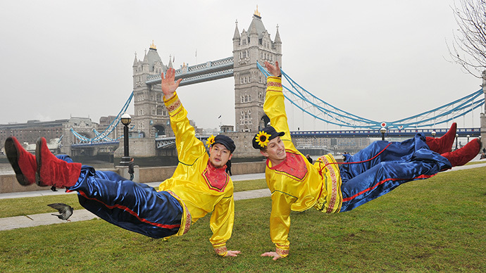 "Russian Cossack dancers pose for photographers during a photocall near Tower Bridge in central London, to launch the ""Maslenitsa"" Russian Festival (AFP Photo / Leon Neal)"