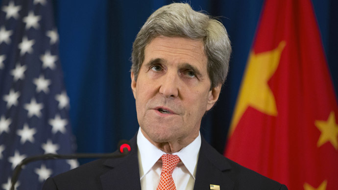 U.S. Secretary of State John Kerry speaks during a news conference in Beijing February 14, 2014. (Reuters//Evan Vucci)