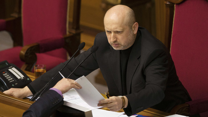 Newly-elected speaker of parliament Oleksander Turchinov attends a session in Kiev February 23, 2014. (Reuters/Alex Kuzmin)