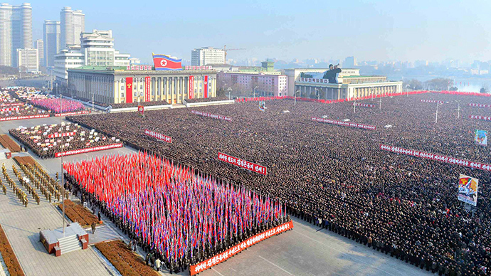 People gather at a rally to exhort the objectives that North Korean leader Kim Jong-Un suggested in his New Year speech, at Kim Il-Sung square, in this undated photo released by North Korea's Korean Central News Agency (KCNA) in Pyongyang on January 6, 2014 (Reuters / KCNA)