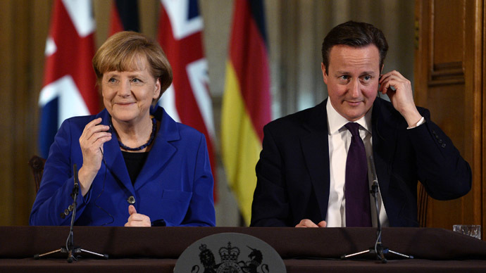 Britain's Prime Minister David Cameron and German Chancellor Angela Merkel hold a news conference at Number 10 Downing Street in London February 27, 2014. (Reuters/Facundo Arrizabalaga)