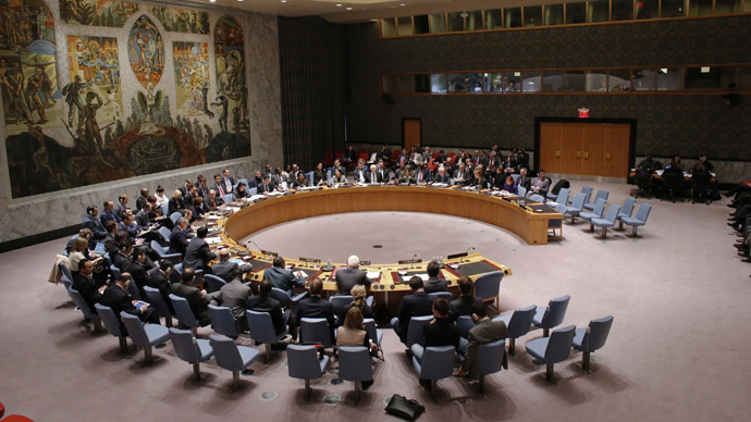 Members of the security council attend a meeting about the crisis in Ukraine, at the U.N. headquarters in New York March 1, 2014. (Reuters/Eduardo Munoz)