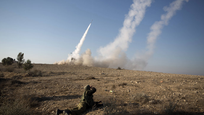 The Israeli military launch a missile from the Iron Dome air defence system.(AFP Photo / Menahem Kahana)