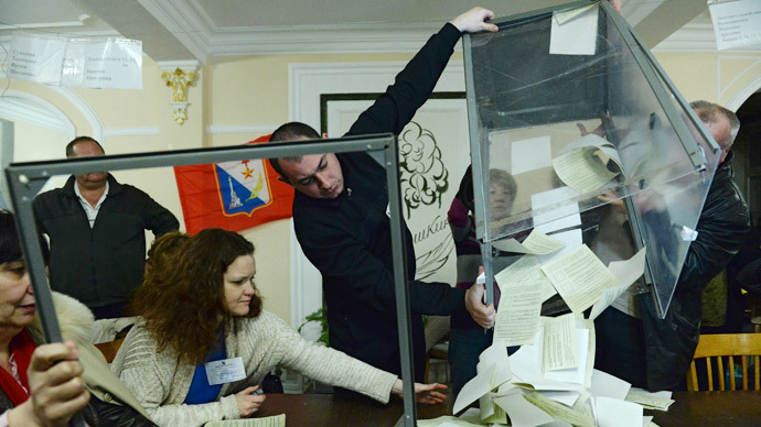 Staff at a polling station in Sevastopol counting the votes of the referendum on the status of Crimea.