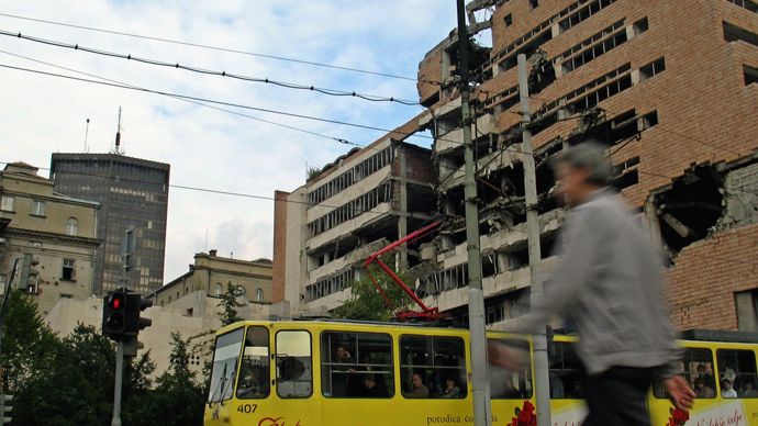 The Yugoslav Army Headquarters building hasn't been rebuilt after being damaged by cruises missiles in April 1999 during NATO's bombing of Serbia over Kosovo. Belgrade (AFP Photo)