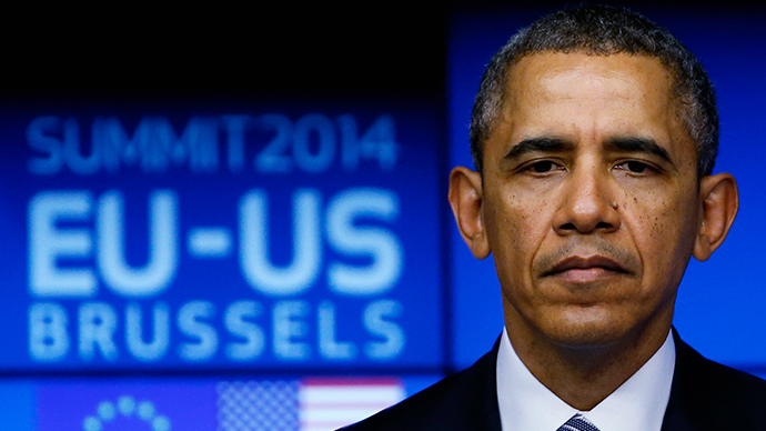 U.S. President Barack Obama looks on as he takes part in a EU-US summit in Brussels March 26, 2014 (Reuters / Yves Herman)