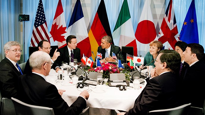 A G7 summit at the official residence of the Dutch prime minister in The Hague on March 24, 2014 on the sidelines of the Nuclear Security Summit (NSS). (AFP Photo / Jerry Lampen)