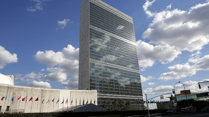 Clouds are reflected off the Secretariat Building (C) of the UN headquarters during the 67th United Nations General Assembly, in New York (Reuters)