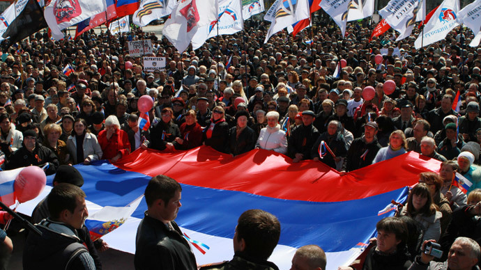 Participants attend the rally staged by supporters of the referendum on Donetsk Region's status in Donetsk. (RIA Novosti / Irina Gorbaseva)