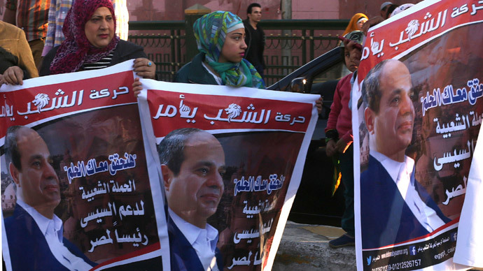 Supporters of Egypt's former army chief Field Marshal Abdel Fattah al-Sisi celebrate the announcement of his candidacy for presidential election in Tahrir square in Cairo (Reuters / Asmaa Waguih)