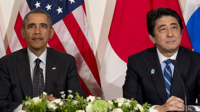 US President Barack Obama (L) and Japanese Prime Minister Shinzo Abe  (AFP Photo / Saul Loeb)
