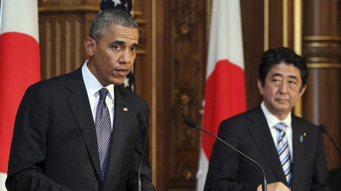 U.S. President Barack Obama (L) attends a news conference with Japanese Prime Minister Shinzo Abe (R) at the Akasaka guesthouse in Tokyo April 24, 2014. (Reuters/Junko Kimura-Matsumoto)