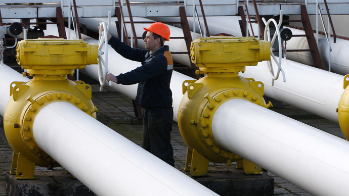 A worker stands near pipes at a gas compressor station in the Ukrainian settlement of Orlovka, about 280 km (174 miles) west of the Black Sea port of Odessa (Reuters)