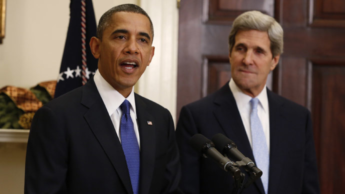 U.S. President Barack Obama and U.S. Secretary of State John Kerry (Reuters/Kevin Lamarque)