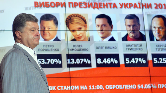 Ukrainian presidential candidate Petro Poroshenko walks in front of screen displaying results of the presidential elections in Ukraine prior his press-conference in Kiev on May 26, 2014. (AFP Photo / Sergei Supinsky)