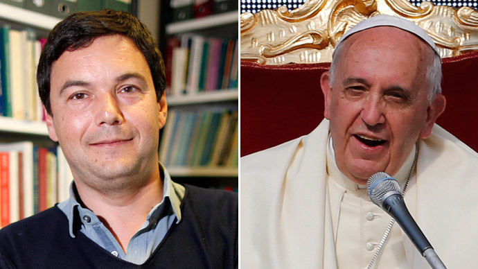 French economist and academic Thomas Piketty and Pope Francis (Reuters)