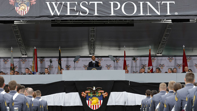 U.S. President Barack Obama speaks at the commencement ceremony at the United States Military Academy at West Point, New York, May 28, 2014. (Reuters/Kevin Lamarque)