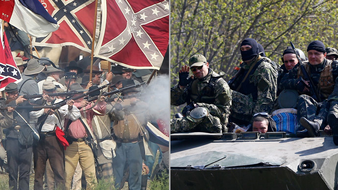 COMBO: (L) Confederate infantry re-enactors in Sharpsburg, Maryland, September 15, 2012; (R) Armed men ride an armored personnel carrier in Slavyansk April 16, 2014. (AFP Photo/Reuters)