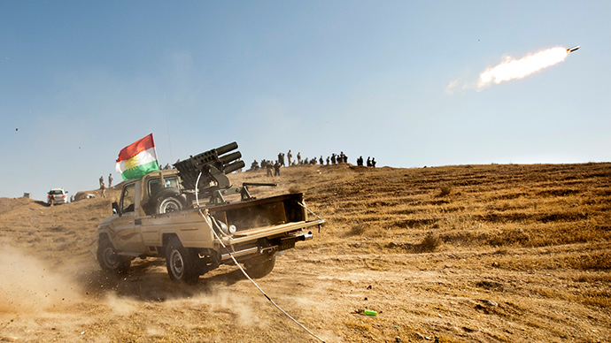 Kurdish Peshmerga forces fire missiles during clashes with militants of the Islamic State of Iraq and the Levant (ISIL) jihadist group in Jalawla in the Diyala province, on June 14, 2014 (AFP Photo / Rick Findler)