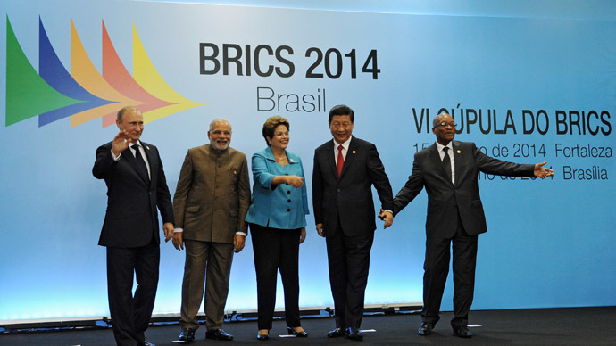 BRICS leaders -- President Vladimir Putin, Indian Prime Minister Narendra Modi, Brazilian President Dilma Rousseff, Chinese President Xi Jinping and South African President Jacob Zuma (from left to right) -- pose for a group photo in the Congress Center in Fortaleza. (RIA Novosti/Michael Klimentyev)