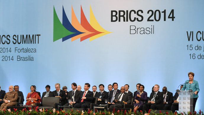 Brazilian President Dilma Rousseff (R) makes a speach during the 6th BRICS Summit in Fortaleza, Brazil, on July 15, 2014. (AFP Photo / Yasuyoshi Chiba)