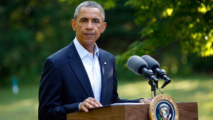 U.S. President Barack Obama delivers a statement on the situation in Iraq from his vacation home at Martha's Vineyard, Massachusetts August 11, 2014. (Reuters / Kevin Lamarque)