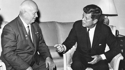 Former United States President John F. Kennedy (R) meets with Nikita Khrushchev, former chairman of the council of Ministers of the Soviet Union, at the U.S. Embassy residence in Vienna, Austria in this June 1961 handout image. November 22, 2013. (Reuters)