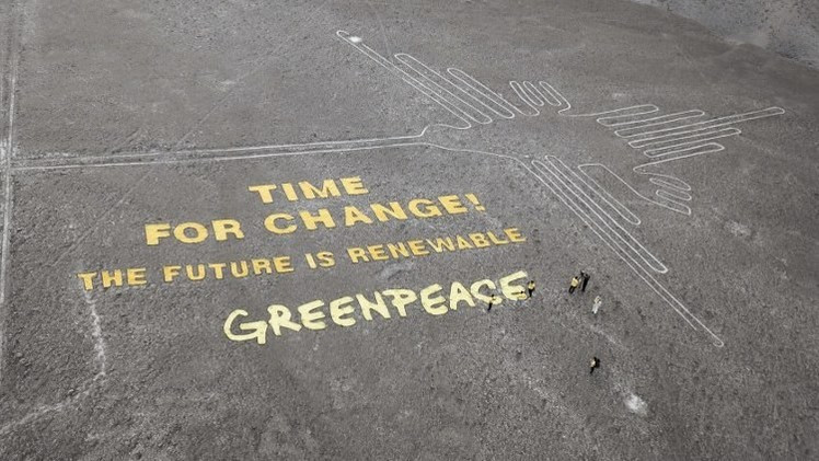 Video: Un dron graba el daño causado por Greenpeace a las Líneas de Nazca