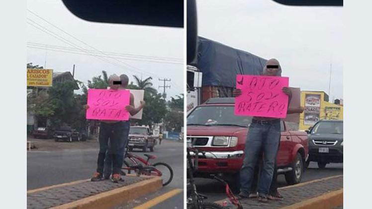'Ojo, soy rata': Detienen y exhiben en plena calle a presuntos ladrones en México