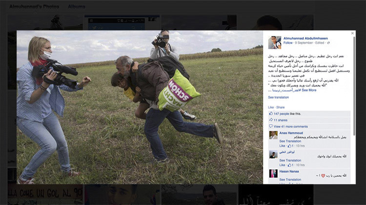 """""""Eres un luchador"""": El hijo del inmigrante sirio pateado por la periodista húngara elogia a su padre"""