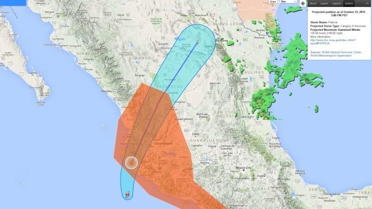 Mapa: Vea cómo el terrorífico huracán Patricia avanza por el territorio de México en tiempo real