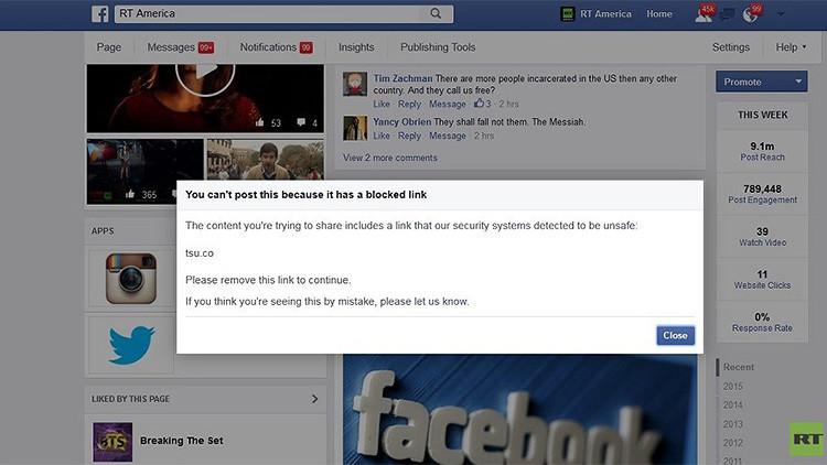 Facebook coquetea con la censura: Borra un millón de menciones de otra red social