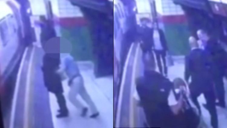 Video sobrecogedor: un anciano empuja a una mujer a las vías cuando el metro se acerca