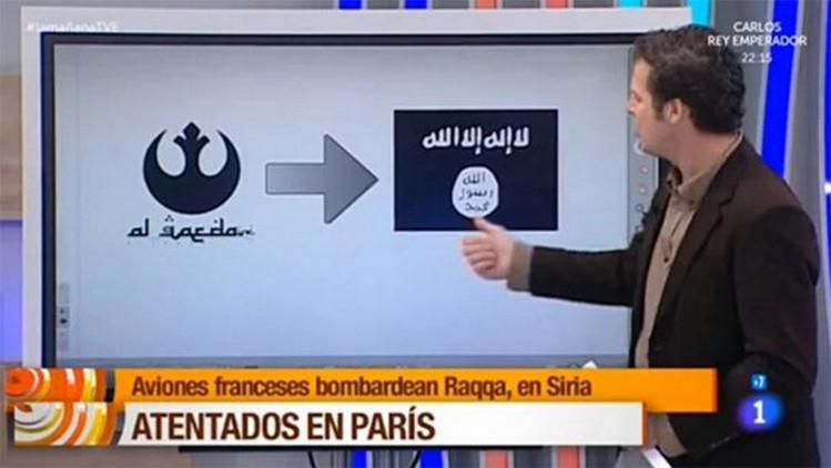 Video: Televisión Española confunde el emblema de Al Qaeda con el de 'Star Wars'
