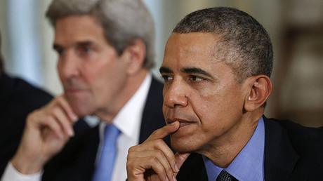El presidente de EE.UU., Barack Obama, y el secretario de Estado, John Kerry, durante una reunión con el presidente turco, Recep Tayyip Erdogan