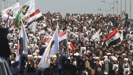 Manifestación contra la ejecución del clérigo chiita Nimr al-Nimr