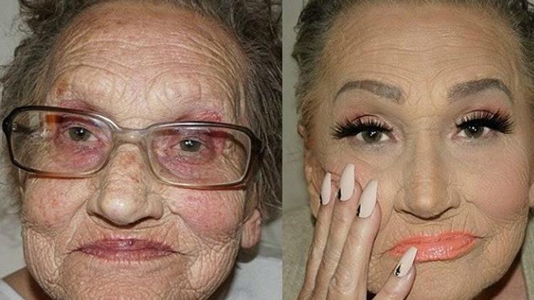 Una maquilladora 'rejuvenece' a su abuela con la técnica de Kardashian (fotos)