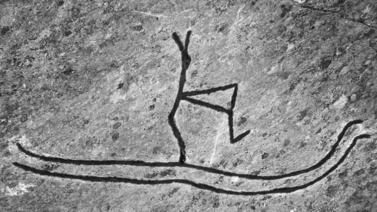 Un joven destruye el petroglifo de un 'esquiador' de 5.000 años