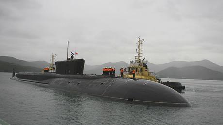 La tripulación del submarino nuclear de misiles Alexander Nevski (Proyecto 955 Boréi) en la península rusa de Kamchatka