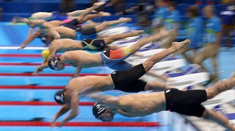 Competencia de natación en los 50 metros libres masculino durante las Olimpiadas de Río 2016
